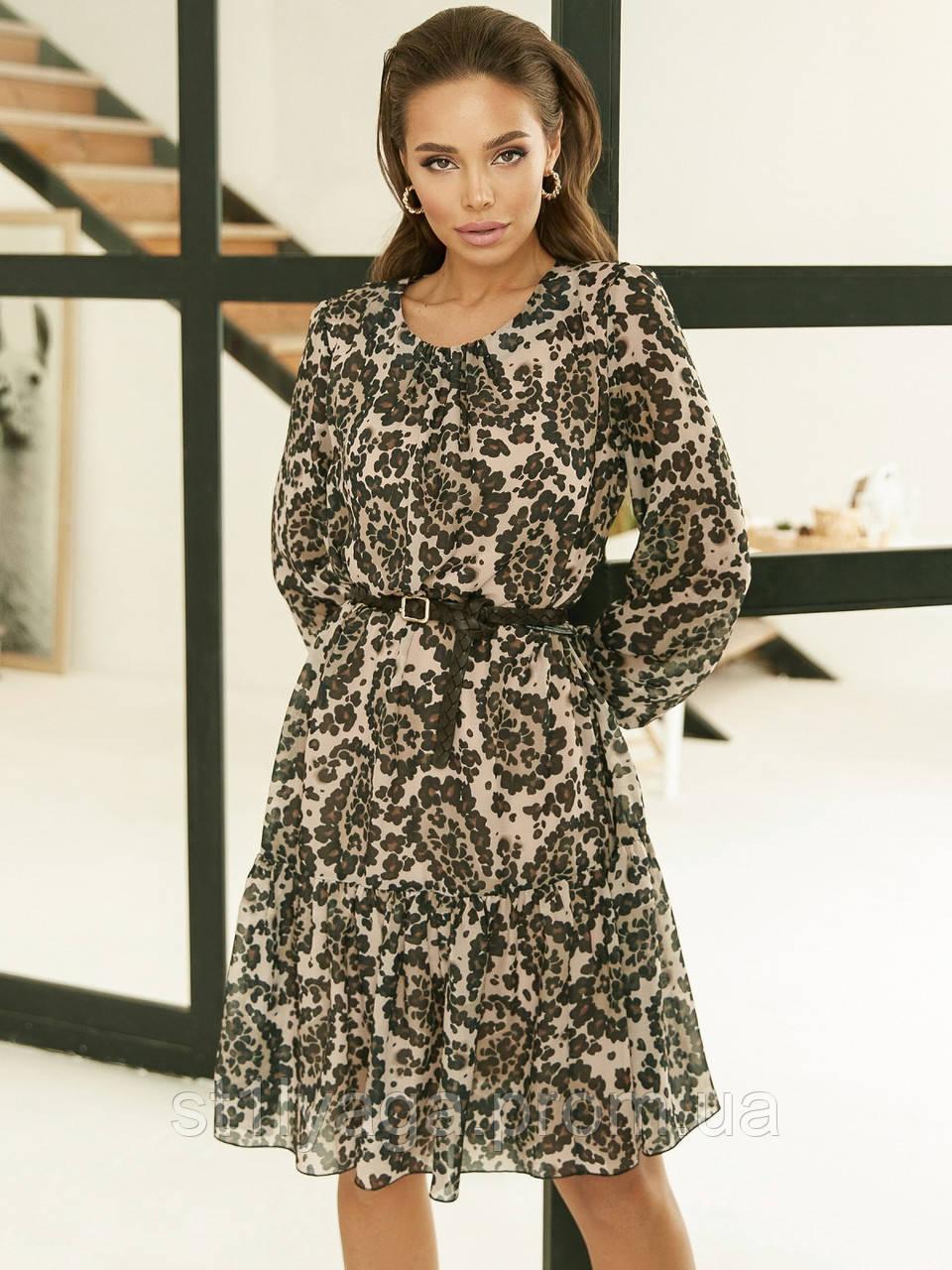 Шифонове плаття-трапеція з принтом і воланом по низу