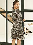 Шифонове плаття-трапеція з принтом і воланом по низу, фото 5
