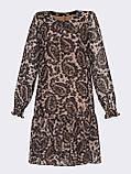 Шифонове плаття-трапеція з принтом і воланом по низу, фото 4