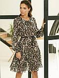 Шифонове плаття-трапеція з принтом і воланом по низу, фото 3