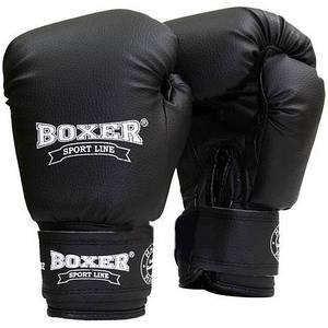 Перчатки бокс 14 оz кожвинил Элит, черные BOXER
