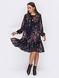 Шифонове плаття-трапеція з принтом і воланом по низу, фото 7