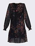 Шифонове плаття-трапеція з принтом і воланом по низу, фото 10