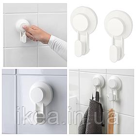 Крючки - вешалки IKEA TISKEN белые вешалки для полотенец с вакуумной присоской 2 шт ИКЕА ТІСКЕН