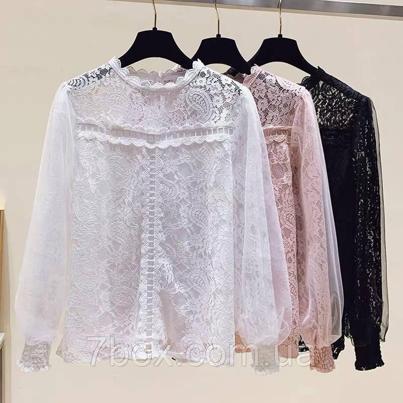 Блуза жіноча Мереживна Оптом р. М(42-44) L(46-48) ЛА9488