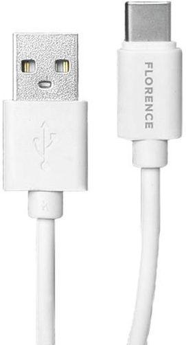 Сетевое зарядное устройство Florence 2xUSB + USB Type-C Cable White (FL-1021-WT)