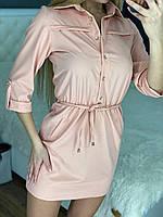 Женское короткое легкое платье верх в рубашечном стиле