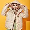 Жіноча демісезонна куртка бежева з капюшоном на кнопках (4 кольори) ВШ/-31261