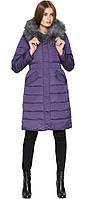 Фиолетовая куртка женская зимняя с косыми карманами модель 8606 (ОСТАЛСЯ ТОЛЬКО 50(L))