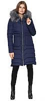 Синяя куртка женская зимняя с накладными карманами модель 6617