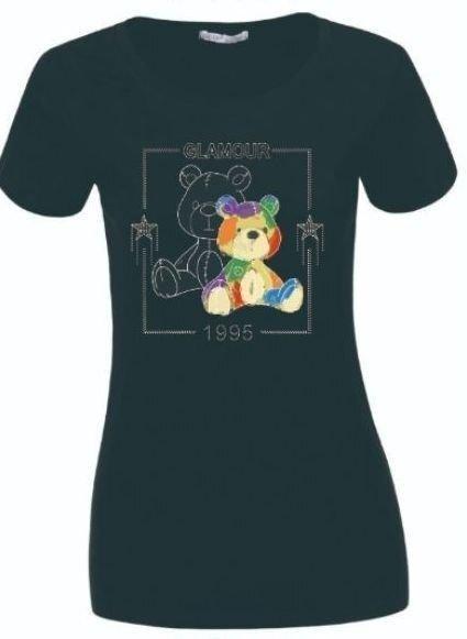 Женская черная футболка с мишками Glo-story, Венгрия