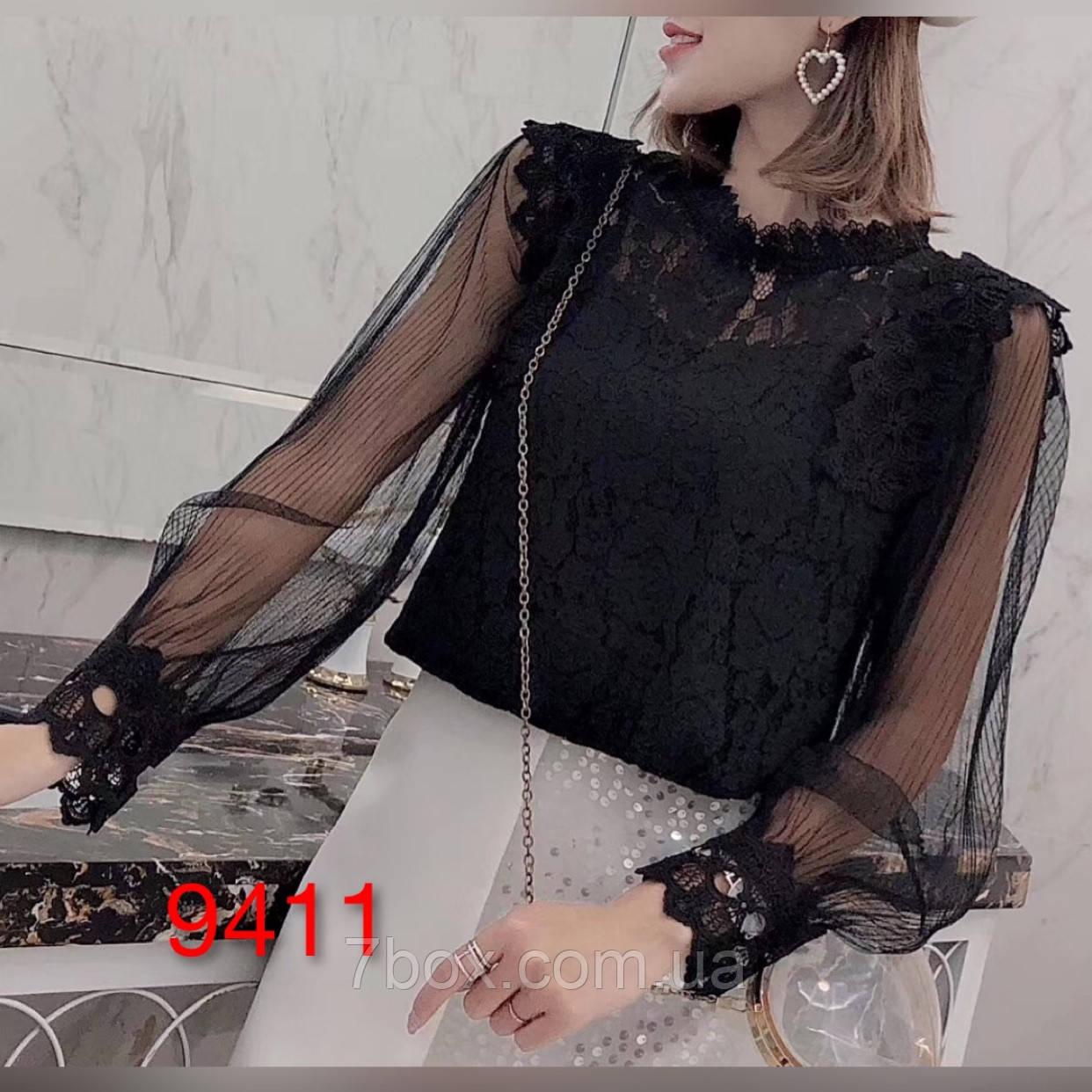 Жіноча блуза Мереживна Оптом р. М(42) L(44) ЛА9411