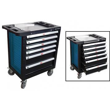 Тележка 6 полок(синяя)с пластиковой защитой корпуса и металлической крышкой+2боковые перфорации,460х770х900