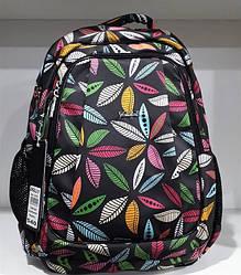 Рюкзак для девочки школьный ортопедический на 2 отдела черный с принтом Листья Dolly 540