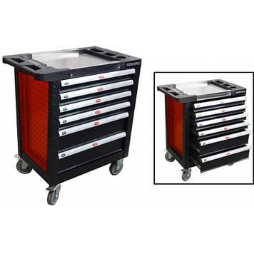 Тележка 6 полок(красная)с пластиковой защитой корпуса и металлической крышкой+2боковые перфорации,460х770х900