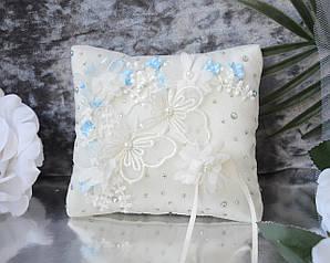 Свадебная подушечка для обручальных колец в молочном цвете