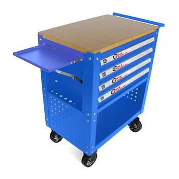 Тележка инструментальная 4-полочная(синяя)с деревянной столешницей+2боковые перфорации и лоток,450х760х910