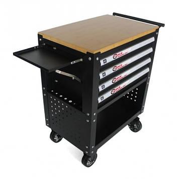Тележка инструментальная 4-полочная(черная)с деревянной столешницей+2боковые перфорации и лоток,450х760х910