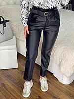 Жіночі чорні штани з еко-шкіри з поясом (42,44,46,48), фото 1