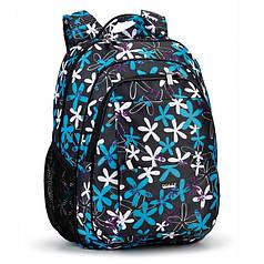 Рюкзак для девочки школьный ортопедический на 2 отдела Dolly 535 синий с принтом Ромашки