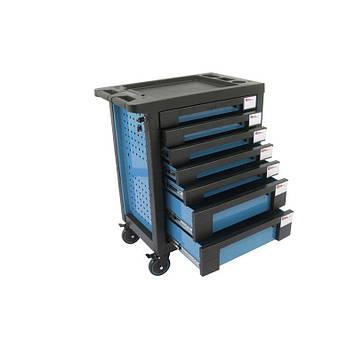 Тележка инструментальная 7-и полочная(синяя) с пластиковой защитой корпуса+2боковые перфорации,460х770х980