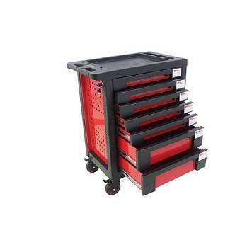 Тележка инструментальная 7-и полочная(красная) с пластиковой защитой корпуса+2боковые перфорации,460х770х980