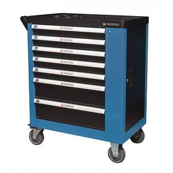 Тележка инструментальная 7-ми полочная (синяя), с дополнительной боковой секцией, 600х840х980