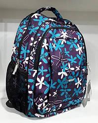 Рюкзак школьный ортопедический для девочки на 2 отдела Dolly 535 фиолетовый с принтом Ромашки