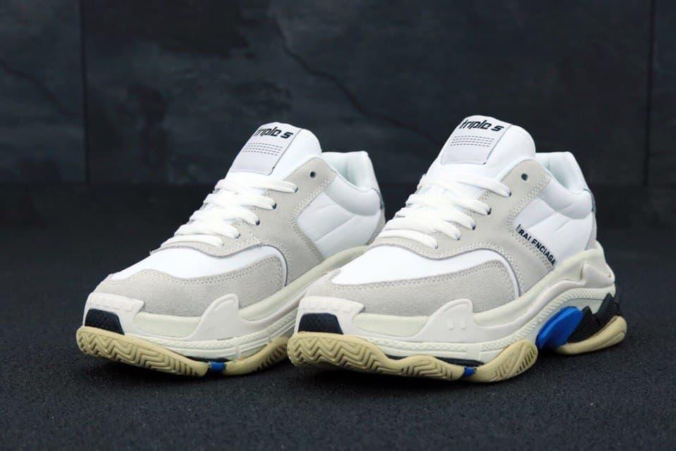 Женские кроссовки Balenciaga TripleS (белые) К11798 кроссы с трехслойной подошвой