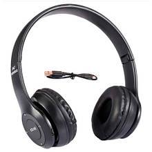 Наушники беспроводные Bluetooth гарнитура P47 MicroSD, черные