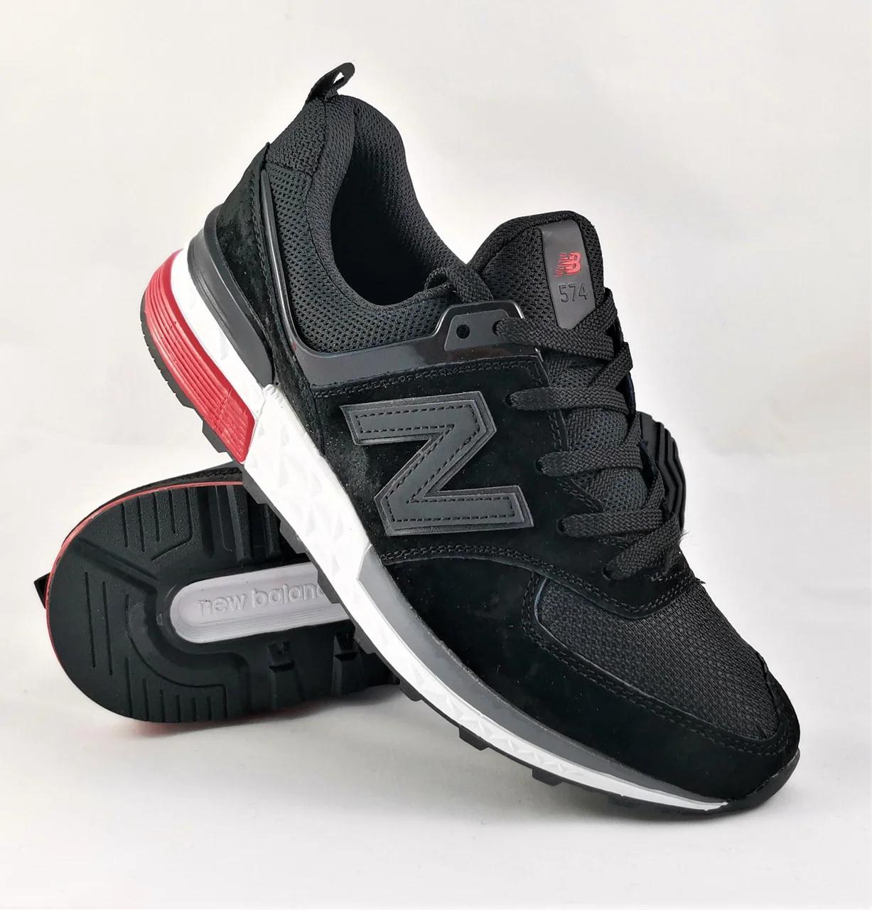 Кросівки чоловічі з логотипом New Balance 574 чорні. Чоловічі кросівки в стилі New Balance 574 чорні