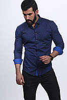 Рубашка стрейчевая на планке с тремя кнопками в мелкий рисунок M