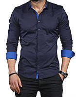 Рубашка длинный рукав с принтом и яркими манжетами S, M