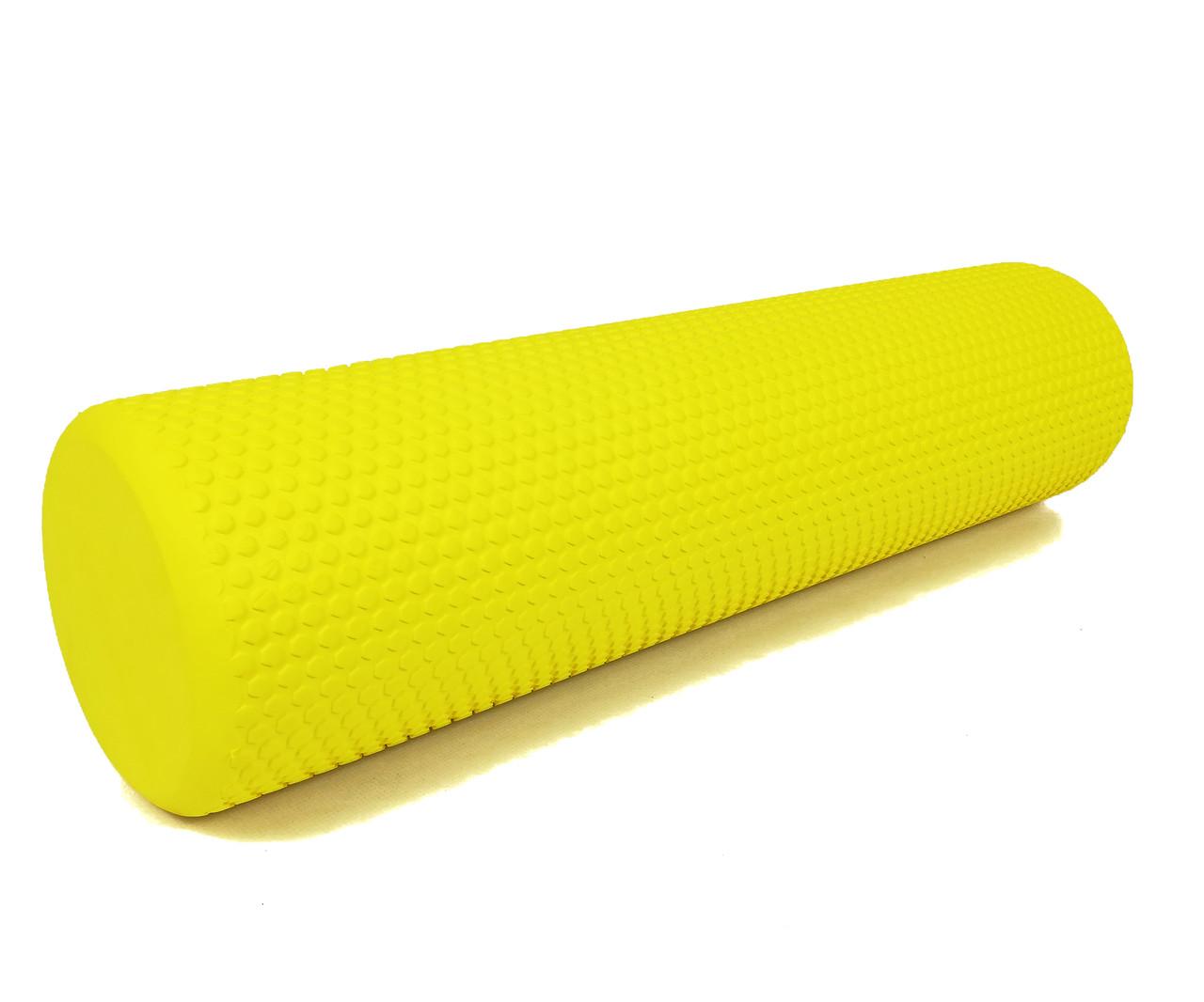 Ролик массажный Foam Roller EVA пена 60 см желтый. Ролик для йоги и фитнеса