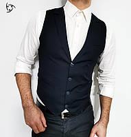 Темна жилетка з класичним пиджаковым коміром S, M, L, XL, XXL, фото 1
