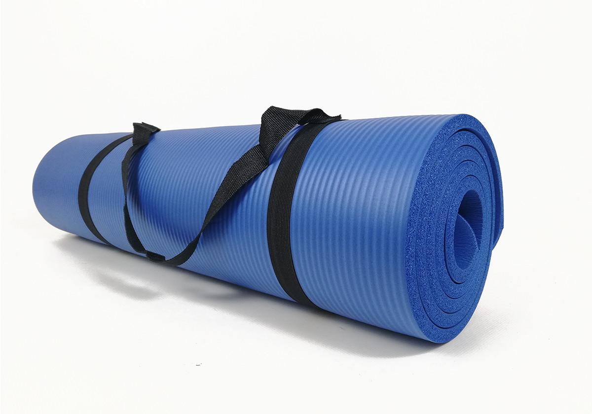 Килимок для фітнесу і йоги NBR 10 мм (синій). Наплічна лямка-затягування в комплекті. Килимок туристичний