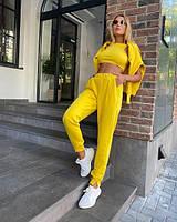 Женский спортивный костюм худи топ штаны стильный, летний, модный желтый