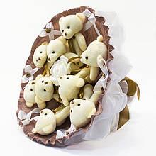 Букет з м'яких іграшок милих ведмежат *Дев'ять красивих мі-мі-Ведмедиків* кращий оригінальний подарунок кавовий