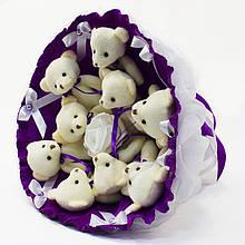 Букет з м'яких іграшок милих ведмежат *Дев'ять красивих мі-мі-Ведмедиків* кращий оригінальний подарунок аметист