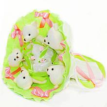 Букет з м'яких іграшок милих ведмежат *П'ять красивих мі-мі-Ведмедиків* кращий оригінальний подарунок лайм 5344IT