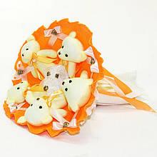 Букет з м'яких іграшок милих ведмежат *П'ять красивих мі-мі-Ведмедиків* кращий оригінальний подарунок помаранчевий