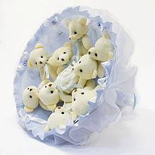 Букет з м'яких іграшок милих ведмежат *Дев'ять красивих мі-мі-Ведмедиків* кращий оригінальний подарунок блакитний