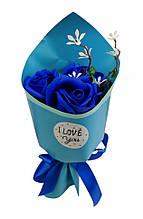 Красивий і оригінальний невеликий букет з троянд у подарунок, стильний (MK 3317(Blue))