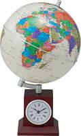 Глобус политический Bestar 200х200х325мм GOLD с часами светлая вишня (3385XJU)