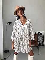 Платье Ливия женское легкое воздушное из мультишифона свободного кроя с оборками в цветочный принт Smdi5394