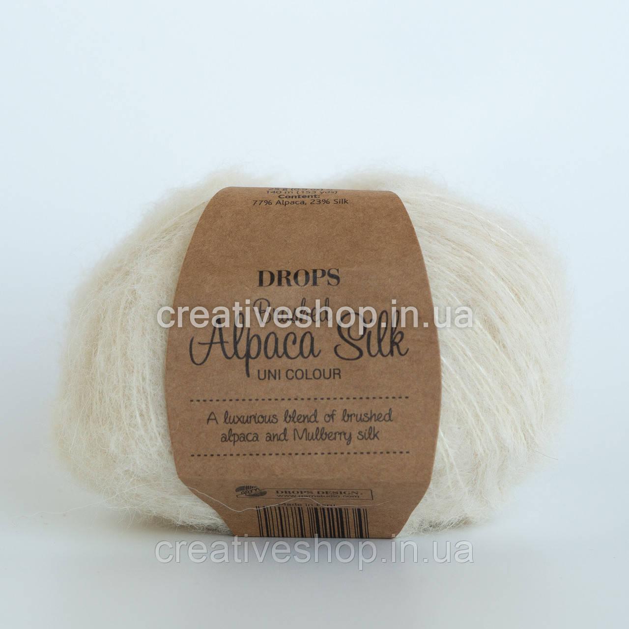 Пряжа Drops Brushed Alpaca Silk (цвет 01 off white)