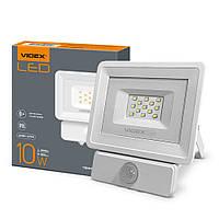 Светодиодный LED прожектор VIDEX 10W 5000K (датчик движения,света)