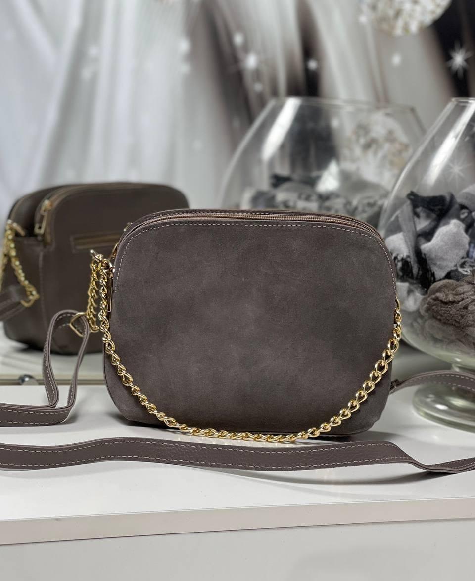 Женская сумка через плечо кросс-боди сумочка клатч на цепочке коричнев-серая натуральная замша+кожзам
