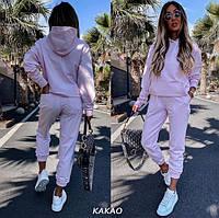 Женский спортивный костюм однотонный. Стильная модная толстовка свитшот с капюшоном и брюки джоггеры