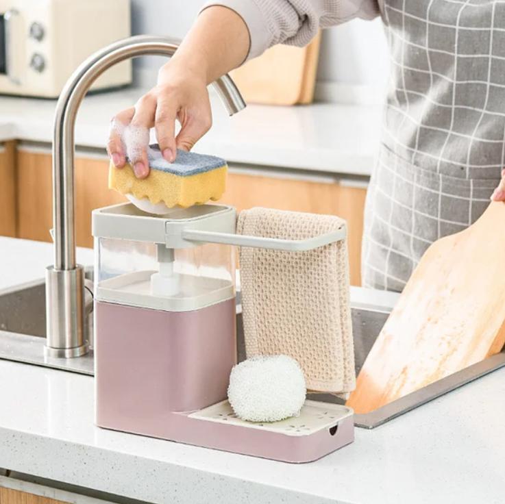 Кухонный органайзер с дозатором мыла (геля для мытья посуды)